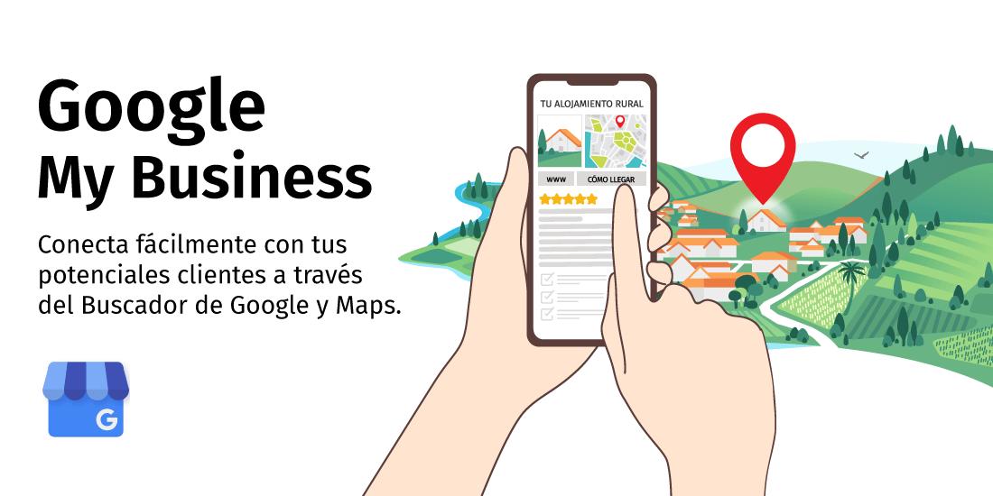 ilustración móvil con información de casa rural en Google
